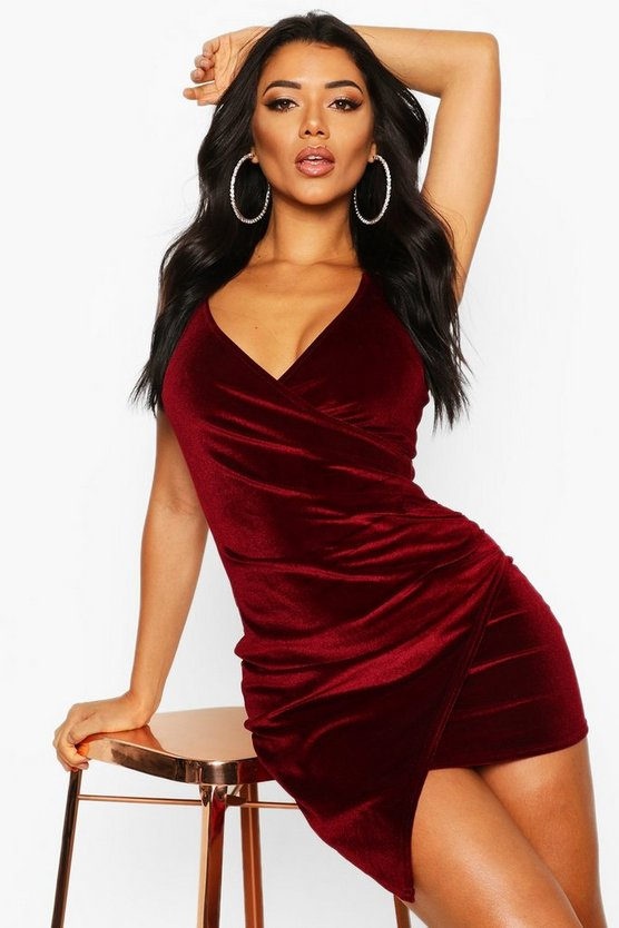 Womens Berry Velvet Wrap Bodycon Dress