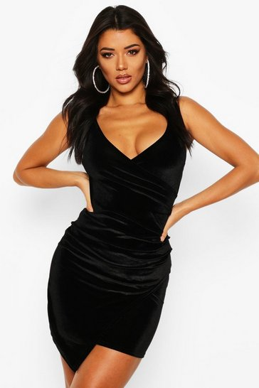 Womens Black Velvet Wrap Bodycon Dress