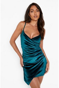 Velvet Wrap Bodycon Dress, Bottle green
