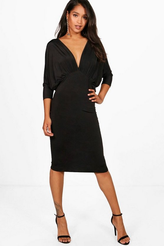 Batwing Plunge Neck Midi Dress
