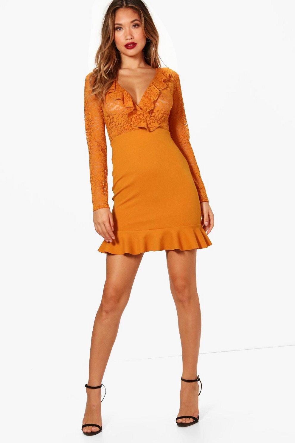 f18fd29ac6d Lace Long Sleeve Frill Hem Mini Dress