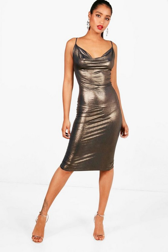 Metallic Cowl Neck Midi Dress