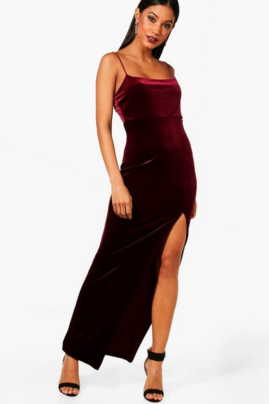 Womens Berry Strappy Velvet Side Split Maxi Dress