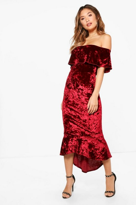 Crushed Velvet Off the Shoulder MiDress