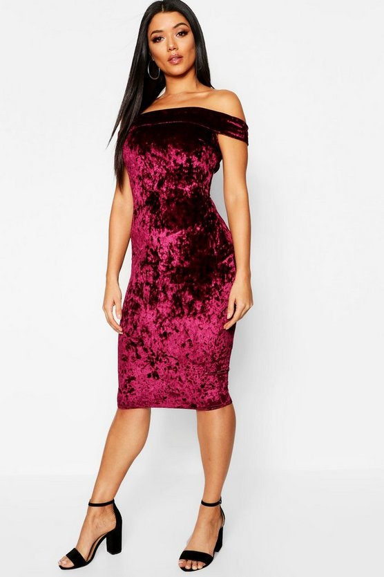 Crushed Velvet Bardot Midi Dress, Berry, Donna