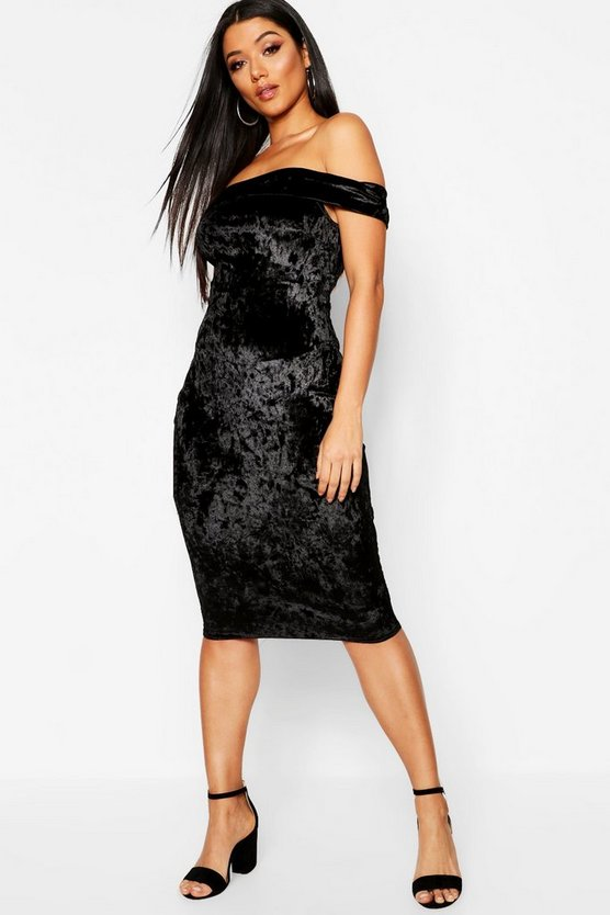 Crushed Velvet Bardot Midi Dress