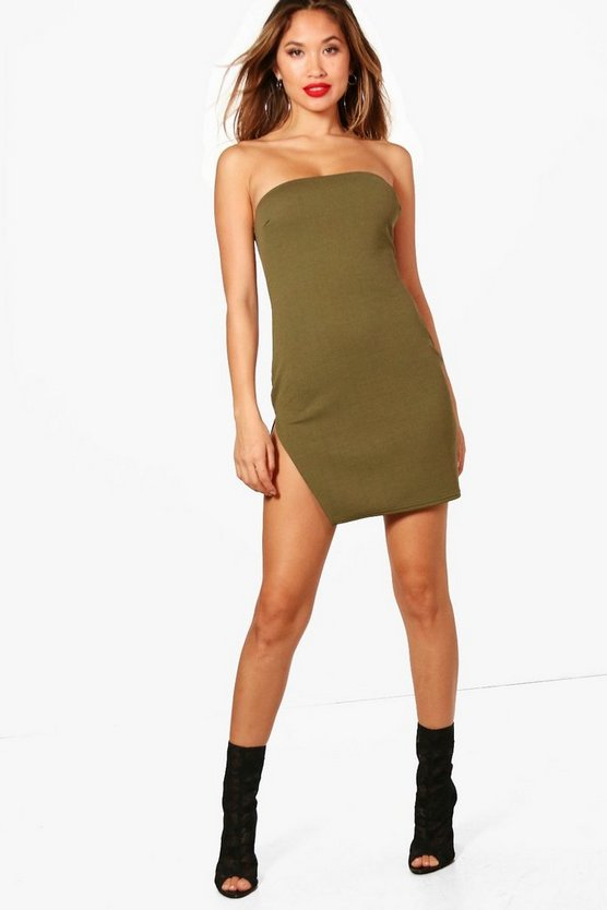 Bandeau Thigh Split Bodycon Dress