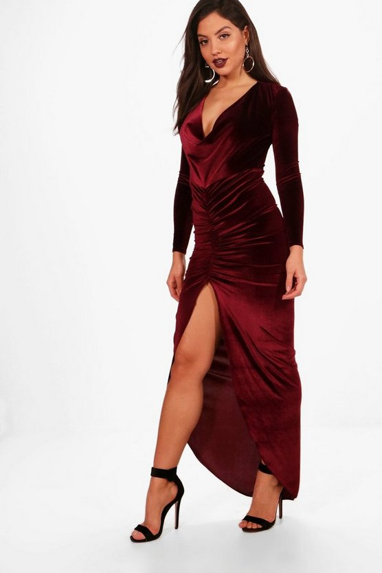Cowl Neck Velvet Draped Maxi Dress