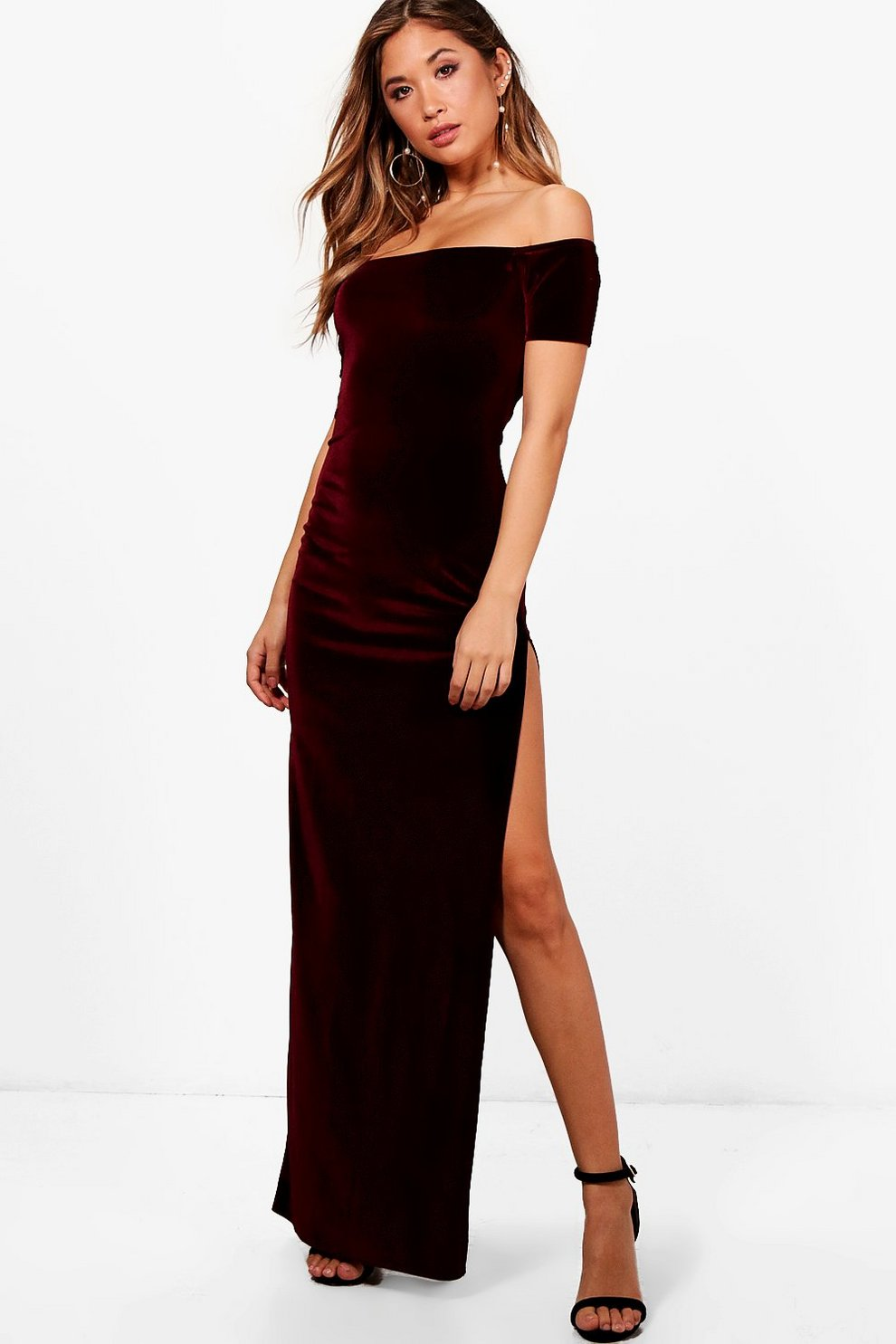 9aedfa0c7 Velvet Thigh Split Maxi Dress | Boohoo