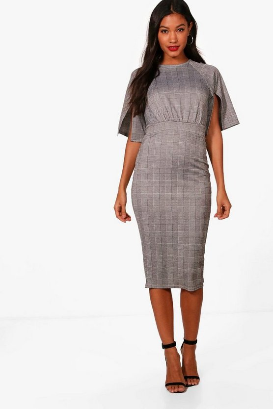 Check Split Sleeve Wiggle Midi Dress