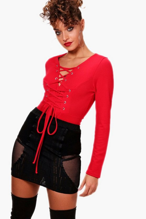 Long Sleeve Lace Up Front Scuba Bodysuit