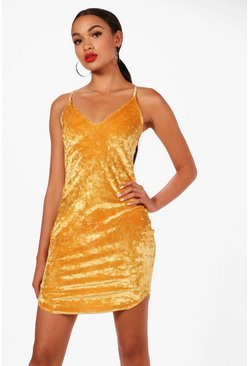 Womens Mustard Velvet Strappy Bodycon Dress