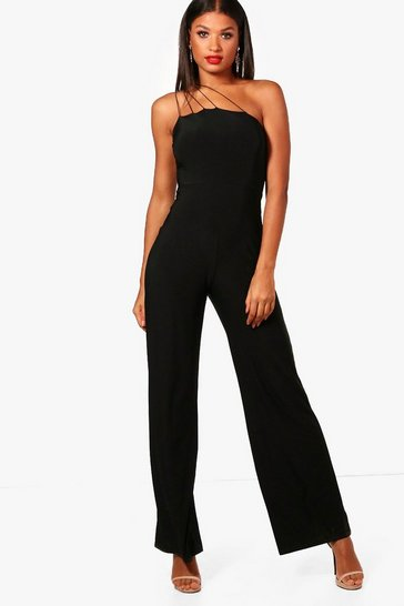 Womens Black Strappy One Shoulder Wide Leg Jumpsuit