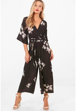 Womens Black Floral Wrap Culotte Leg Jumpsuit