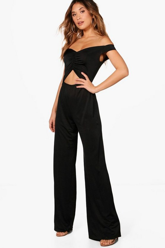Cut Out Middle Wide Leg Jumpsuit