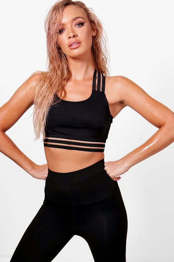 Womens Black Fit Medium Support Sports Bra