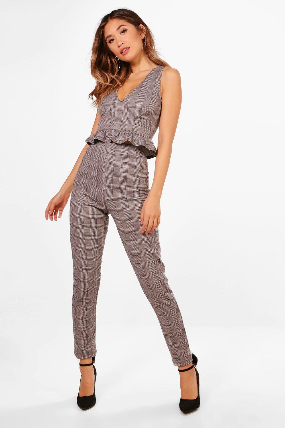 Trouser Set Crop Plunge Skinny grey and Check Iw0qHxBf