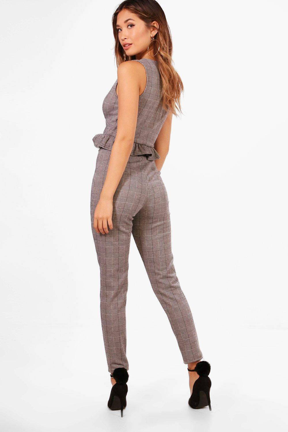 Set Trouser and Plunge Crop grey Skinny Check XO0g0x