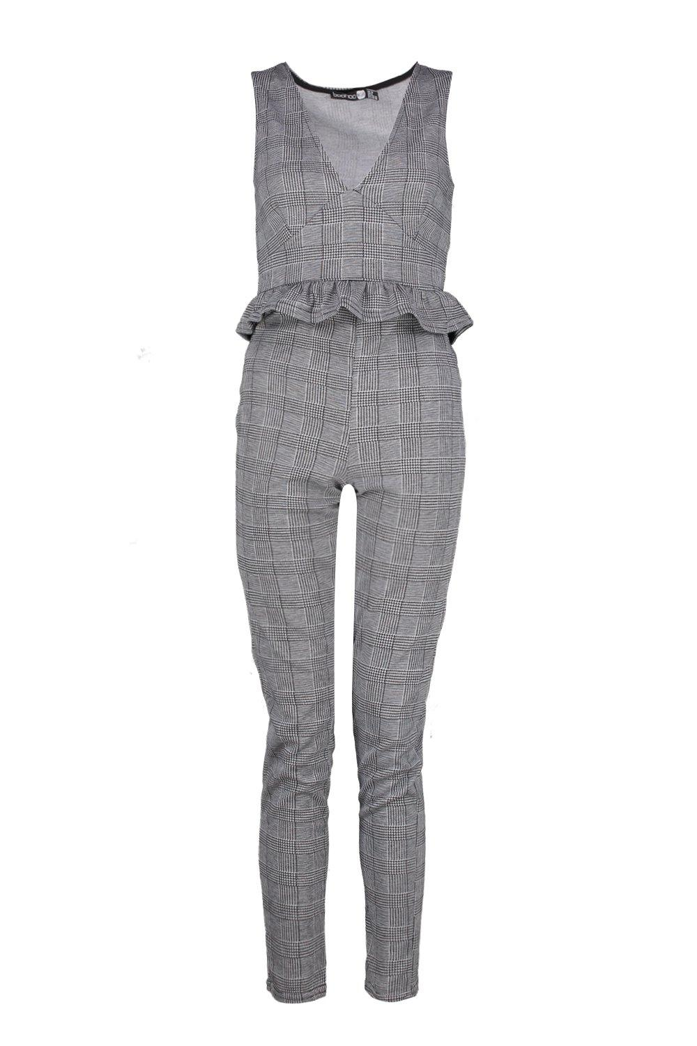 Set Trouser Plunge Skinny grey and Crop Check BxOCZwqPg