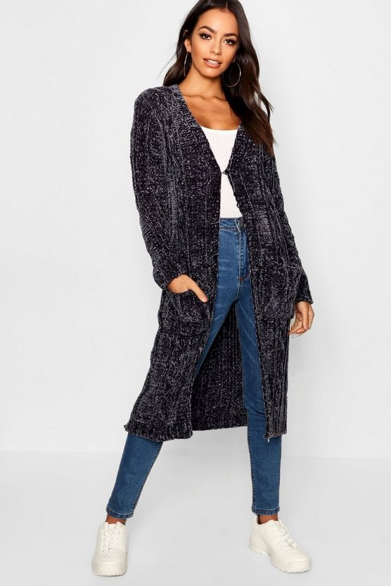 Womens Grey Maxi Cable Chenille Cardigan