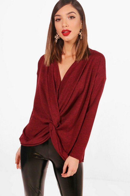 Womens Berry Knot Front Drape Knitted Top