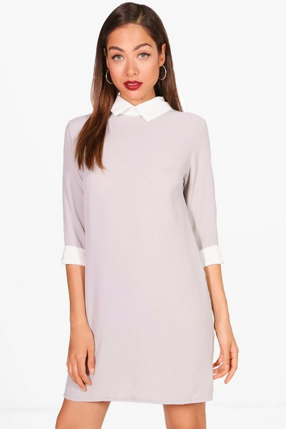 Shirt Collar Shift Dress