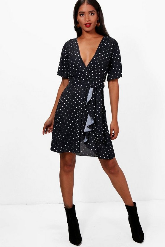 Josie Polka Dot Ruffle Tea Dress