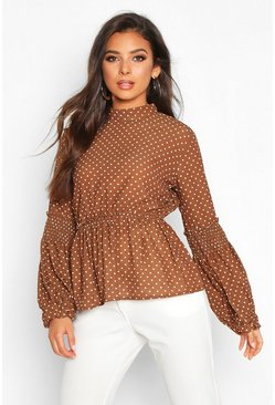 Womens Rust Polka Dot Sheared Balloon Sleeve Blouse