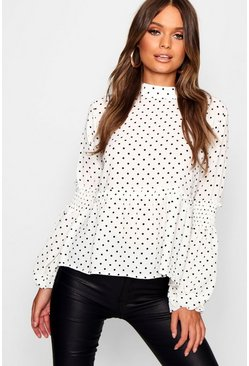 White Polka Dot Sheared Balloon Sleeve Blouse