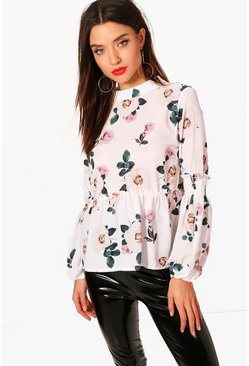 Womens Floral Sheared Balloon Sleeve Blouse
