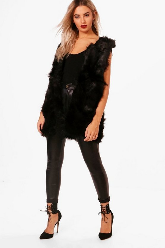 Womens Black Boutique Faux Fur Gilet