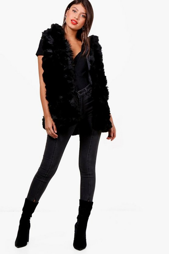 Black Boutique Faux Fur Gilet