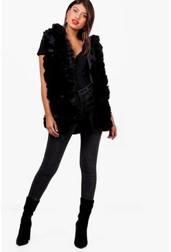 Boutique Faux Fur Gilet, Black, Donna
