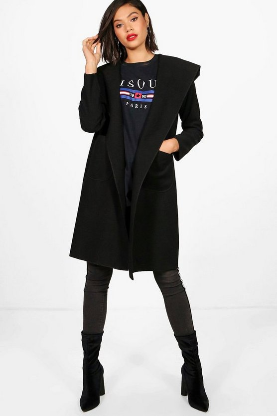 Womens Black Hooded Coat