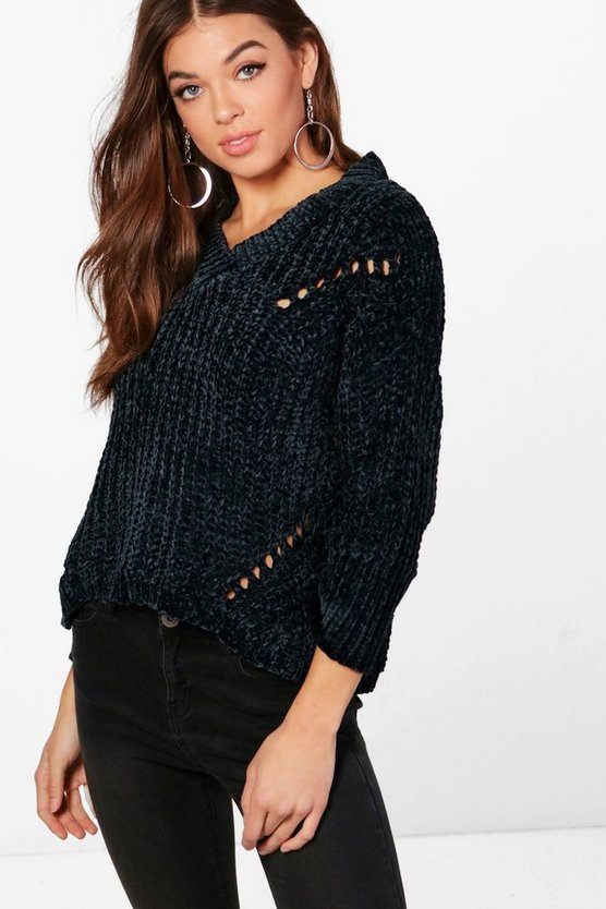 V Neck Chenille Jumper
