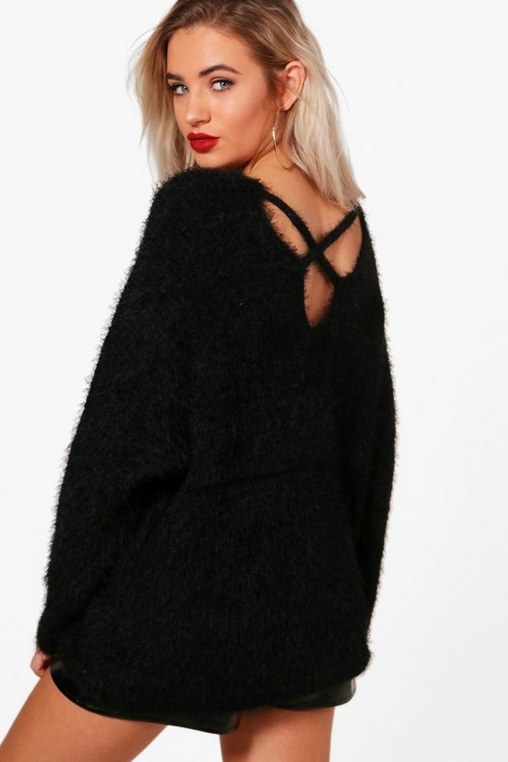 Womens Black Oversized Eyelash Cross Back Jumper