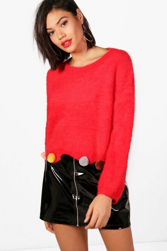 Fluffy Crop Pom Pom Jumper