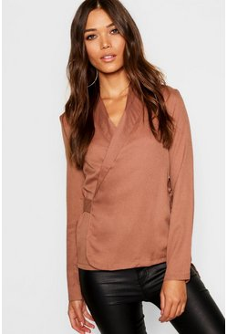 Womens Toffee Wrap Front Tie Side Blouse
