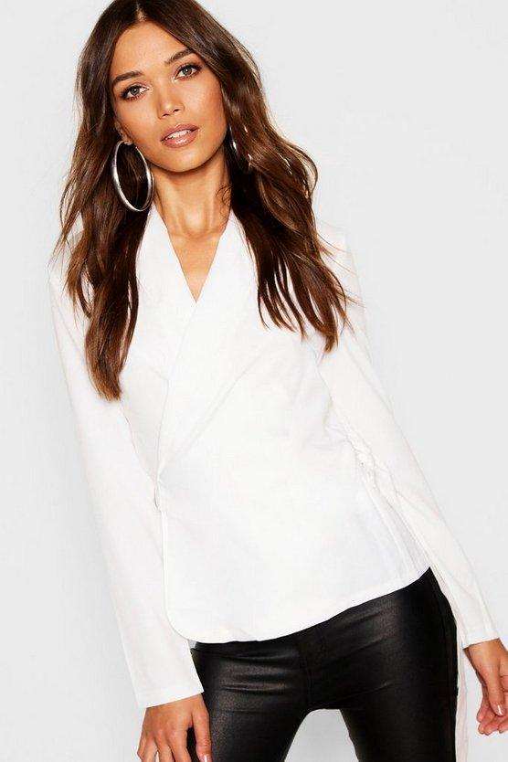 Womens White Wrap Front Tie Side Blouse