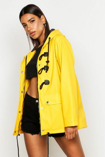 Womens Mustard Rubberised Rain Mac With Toggles