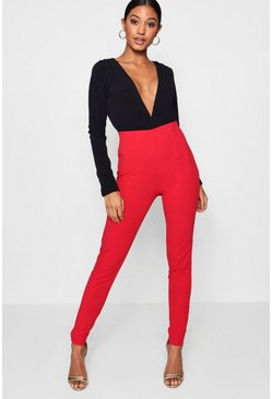 Womens Red Front Seam Skinny Trouser