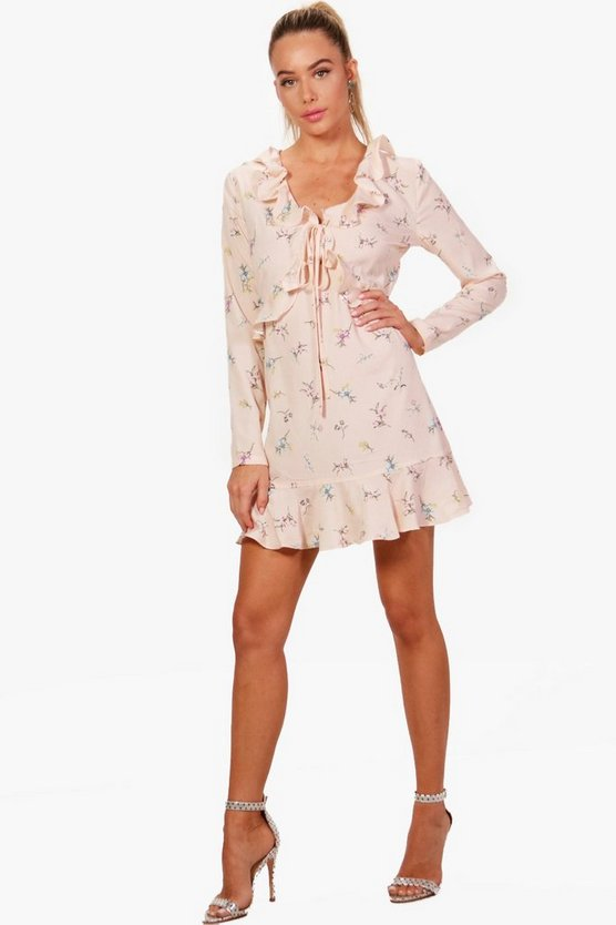 Ruffle Front and Hem Floral Tea Dress