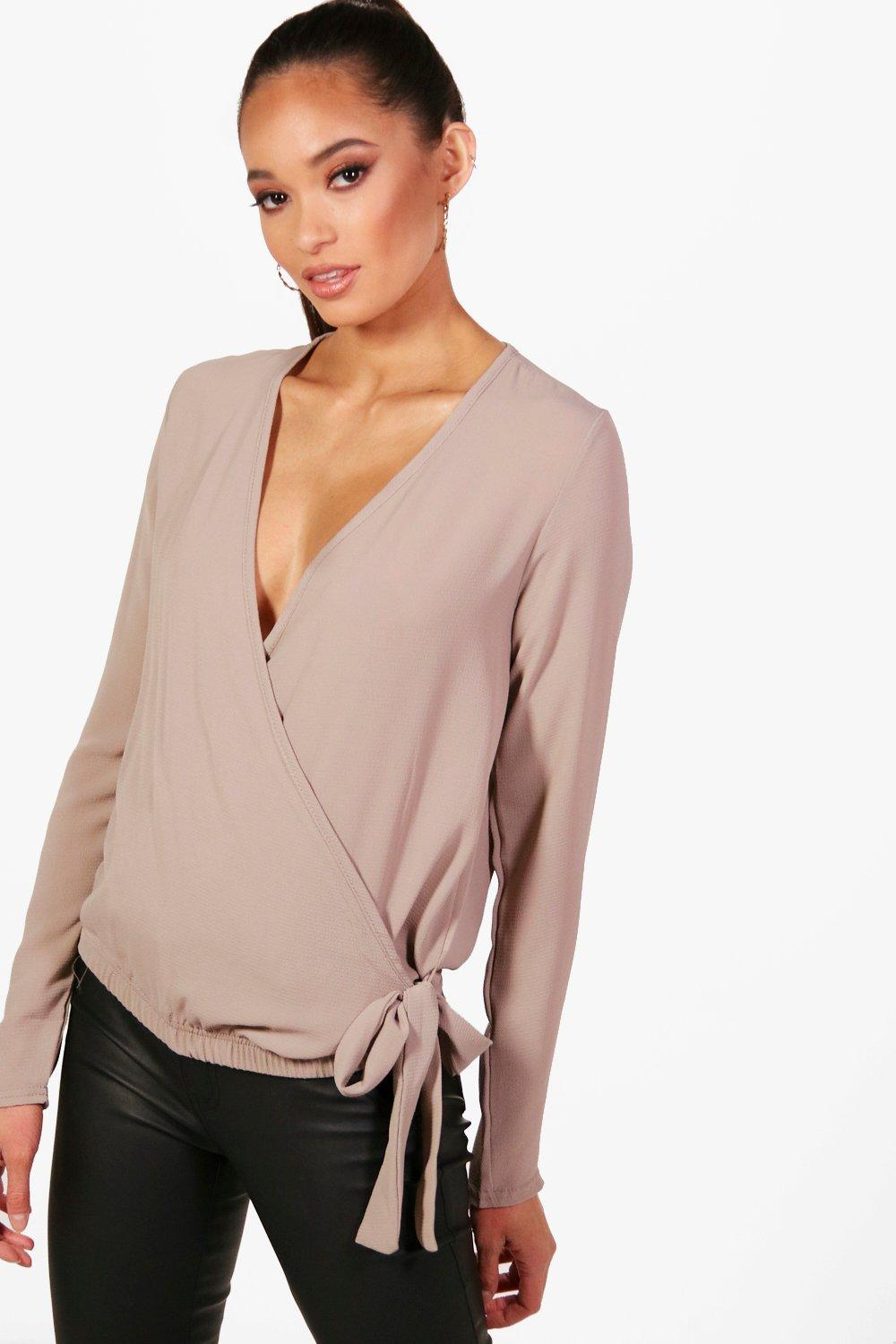 Womens Wrap Over Blouse Toffee Art