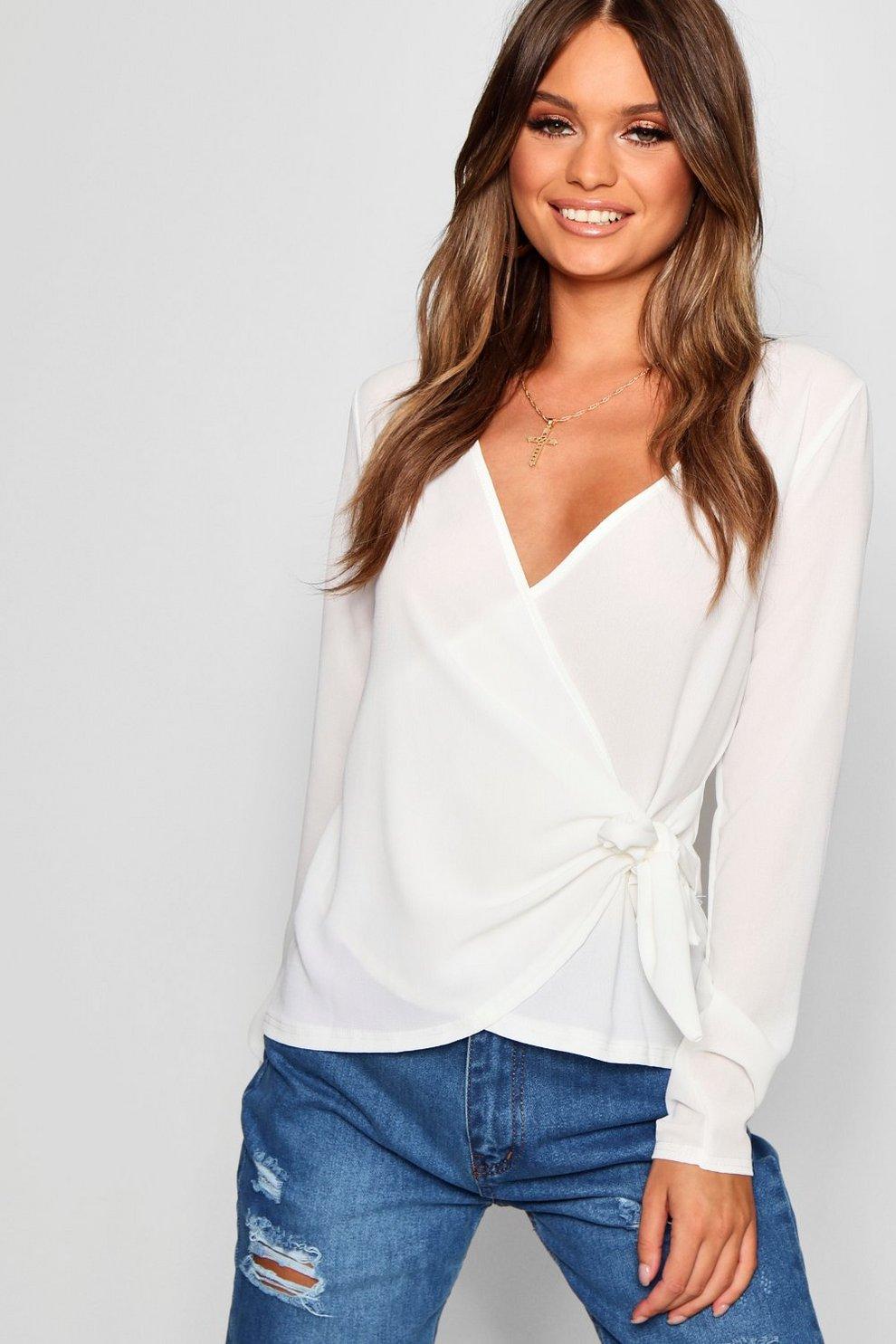 416cdbadcde956 Womens Cream Wrap Over Tie Side Blouse