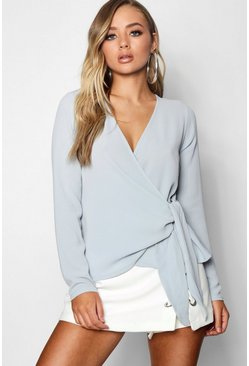 Womens Pastel blue Wrap Over Tie Side Blouse