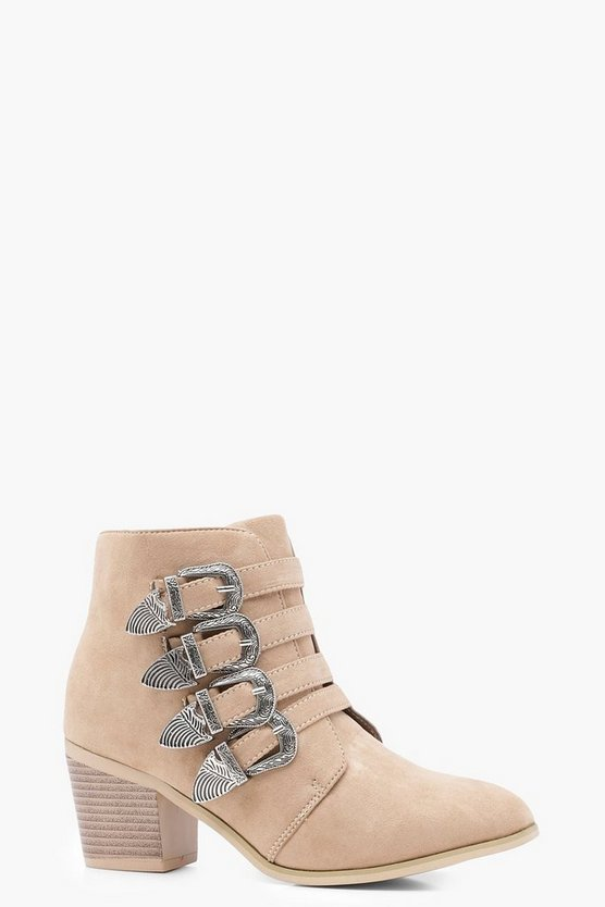 Womens Taupe Buckle Western Shoe Boots