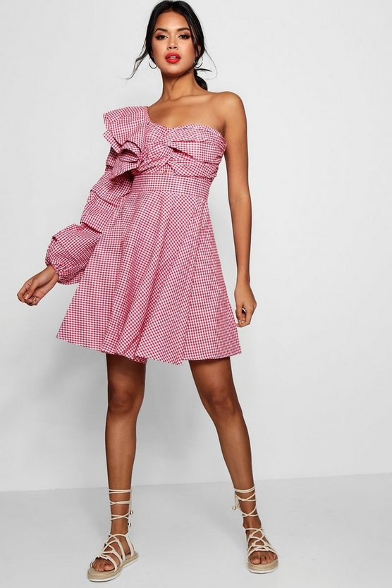 Twist Front One Shoulder Skater Dress