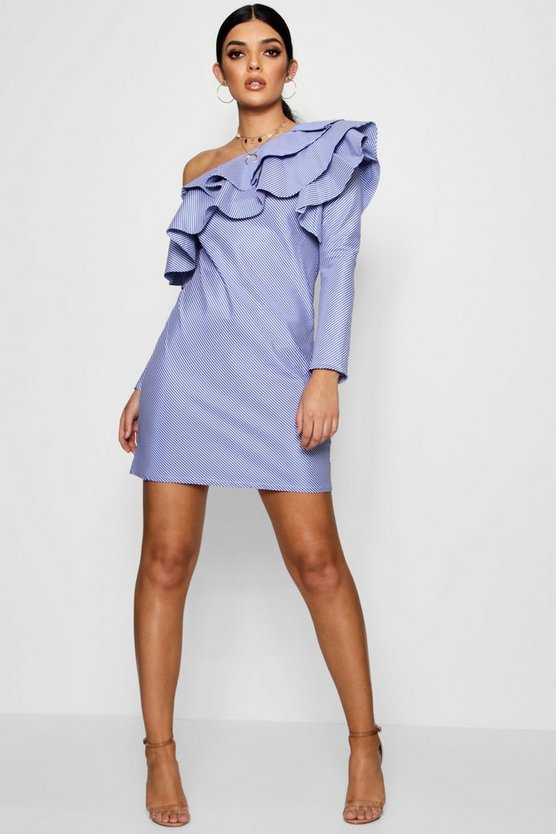 Ruffle One Shoulder Striped Shift Dress