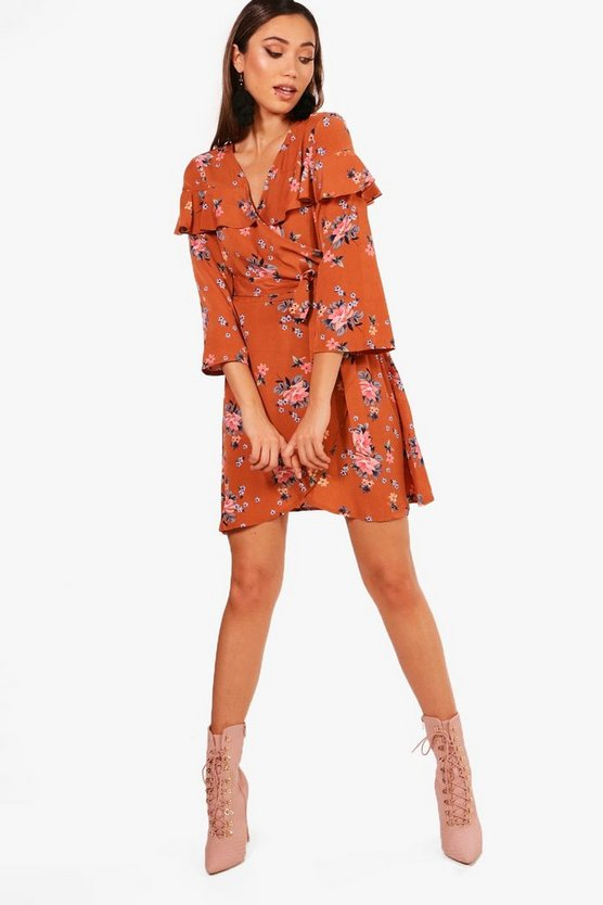 Floral Angel Sleeve Woven Tea Dress