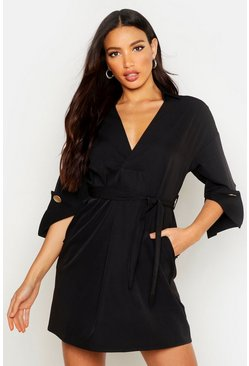 Womens Black Kimono Sleeve Belted Shirt Dress